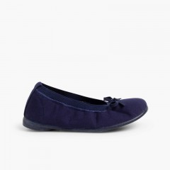1Canvas Ballet Flats with Ribbon