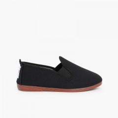 Canvas Slip On Plimsolls Flossy type Black