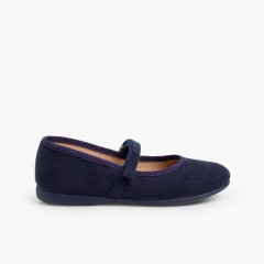 Girls Riptape Faux Suede Mary Janes Navy Blue