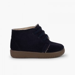Kids Suede Boots with Coloured Laces and Stitchings Navy Blue