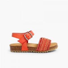 Leather and Fabric Strap BIO Sandals  Salmon