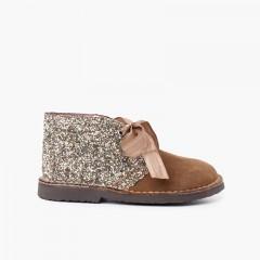 Girls Glitter Safari Boots  Taupe
