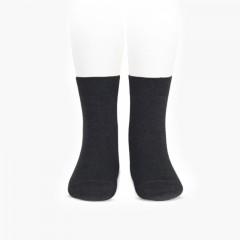 CONDOR KIDS' PLAIN SHORT SOCKS Anthracite