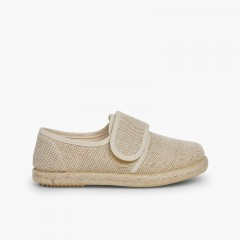 Linen and Jute Bluchers with loop fasteners Beige