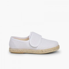 Linen and Jute Bluchers with loop fasteners White