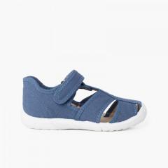 Boys' loop fasteners T-Bar Sandals with Reinforced Toe Blue denim
