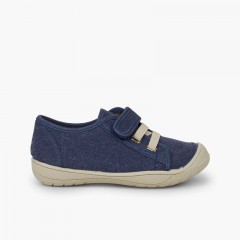 Trainers with loop fasteners Closure and Elastic Laces Blue denim