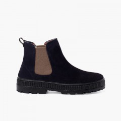 Kids Boots Track Sole with Elastic Navy Blue