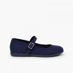 Girls´ canvas Mary Janes with buckle fastening Navy Blue