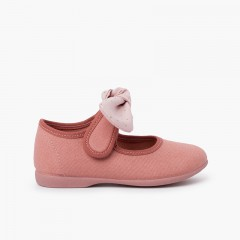 Canvas Girls Mary Janes with Polka Dot Bow Pink