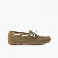 Boys Suede Bow Ceremony Moccasins Green