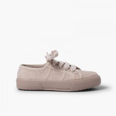 Shiny linen trainers for women and girls Pink