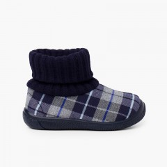 Boot slippers with wool sock collar Navy Blue
