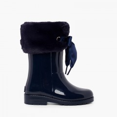 Soft fur top wellies with bow Navy Blue