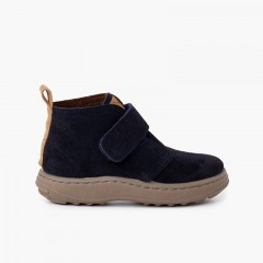 Boys suede boots sport sole with adherent strap Navy Blue