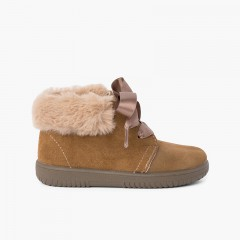 Girl's Suede Booties with Fur Collar Satin Laces Taupe