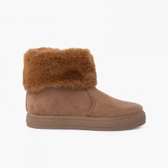 Girls cowl neck fur boots Taupe