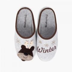 Clog Slippers with Drawings Brown Deer
