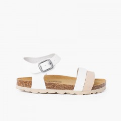Two-color strappy sandal with ergonomic bio sole White and Beige