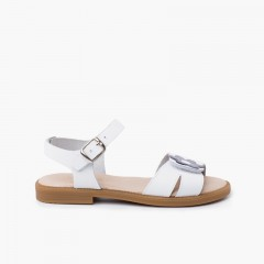 Wide strap adherent flower sandal with buckle closure White  bluish gray flower