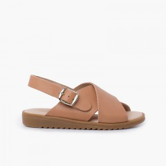 Crossed leather sandal with wide straps Beige