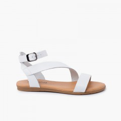 Girl and woman leather sandal cross strap bracelet buckle White
