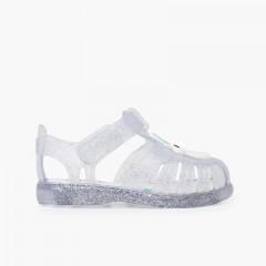 Glitter unicorn sandals adhesive strip White
