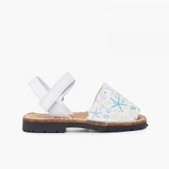 Menorcan sandals printed for children with adhesive strip sea stars