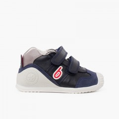 Biomecanics first steps bicolor shoes navy blue and red