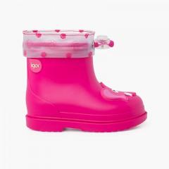 Adjustable neck elephant rain boots Fuchsia