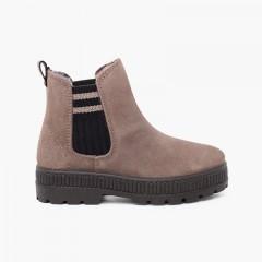 Striped side elastic split sock boot Grey