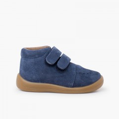 Suede booties with adhesive closure Blue