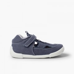 Boys Canvas Sandals with Riptape Navy Blue
