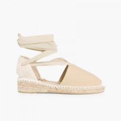 Plain Ankle-Tie Espadrilles Sand