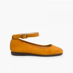 Embellished toe cap ankle strap Ballerinas Mustard