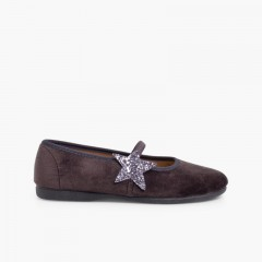 1Ballerina shoes with Glitter Stars and Elasticated Strap