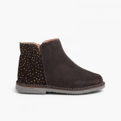 Flat boots with sparkle dots Grey