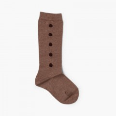 CONDOR High Socks with Polka Dots  Taupe