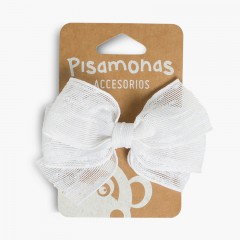 Hair Clip with Raffia Bow  White