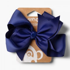 Girls Big Bow Hair Tie Navy Blue