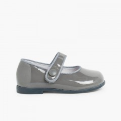 Girl's Riptape Patent Mary Janes Grey
