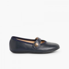 Girls Colourful Leather Mary Janes Navy Blue