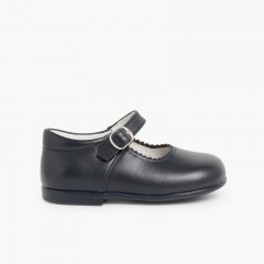 Girls Buckle Up Leather Mary Janes Navy Blue