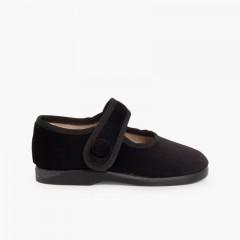 Girls Velvet Mary Janes with Velcro Button  Black