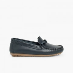 Boys Leather Ribbon Moccasins Blue