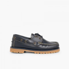 Boys Lace-Up Deck Shoes Navy Blue