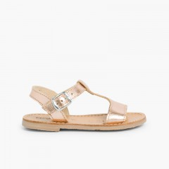 Metallic Flat Leather Sandals Bronze