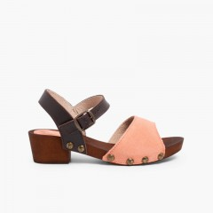 Suede Sandals Wood-like Soles Salmon