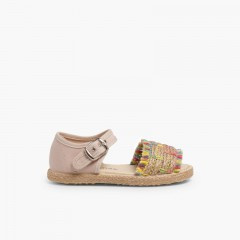 Fringed Espadrille Style Sandals Multicolor