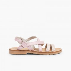 Girls' Leather Sandals with Crossover Strap and Mother of Pearl Effect Pink